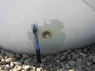 Damage to the TransCanada pipeline is seen in an RCMP photo.