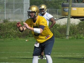 Bombers QB Drew Willy at practice at IMG Academy in Bradenton, Fla.