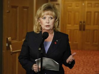 Senator Pamela Wallin speaks to reporters outside a Senate committee hearing on Parliament Hill in Ottawa on Monday.