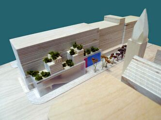 A model shows the new and improved plans for the corner of River and Osborne. The blue indicates the entrance of the theatre.
