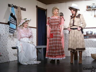 Members of the Starbuck United Church Players. From left to right: Ellen Saltiss, Tracy Hreherchuk and Kathy Montgomery perform in The Ratcatcher's daughter in 2006.
