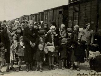 Jewish women and children from Hungary, separated from the men, line up at Auschwitz to be selected for hard labour or immediate death.