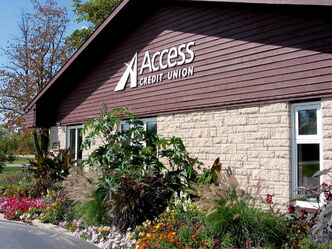 Access Credit Union (Sanford branch shown) is one of three finalists in the Rural Long Term Achievement category of the Manitoba Chambers of Commerce's MBiz awards.