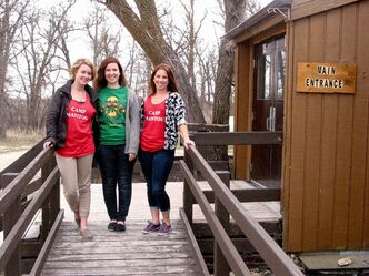 In May 2013 staff members (left to right) Spencer Warren, Kelsey MacKay and Rebecca Horvey were preparing for the summer's campers at Camp Manitou. The Winnipeg Jets True North Foundation is leasing the 83-year-old camp as of Jan. 2.