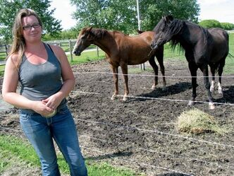 Sarah Southwell, owner of Hi Point Horsemanship, shows off her American Bashkir stallion Prairie Pharoh (right).