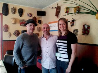 Burpee and Ace also visited Café Dario (1390 Erin St.) where server Dan King (middle) got to meet the Olympic champion.