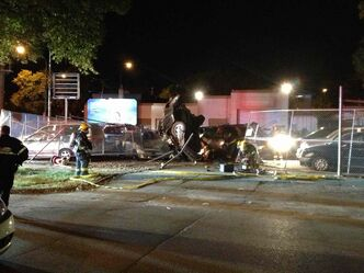 A collision between two trucks in the North End Friday night sent four people to hospital.