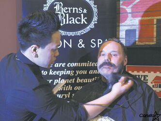 Roger Chamberland gets cleaned up at the start of last year's Festival beard growing contest.