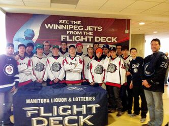 The Churchill Bulldogs hockey team is pictured here at a recent Winnipeg Jets game.