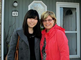 Japanese exchange student Risako Hayashi and correspondent Joanne O'Leary.
