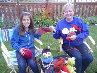 Ten-year old Emma Beeusaert and Shelley Kent are two of the Norwood Naughty Knitters.