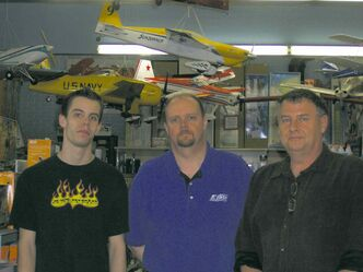 (L-r:) Bret Edel, Jim Holland, Kerry Fingler are the full-time staff at Cellar Dweller Hobby Supply Ltd.