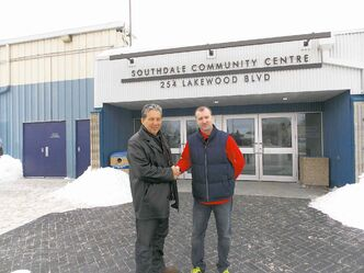 In this February 2013 file photo, Coun. Dan Vandal (St. Boniface) shakes hands with Southdale Community Centre's president Todd Thornton in light of an unrelated funding announcement. It was recently announced that the Lakewood Boulevard-based centre is among four in southeast to benefit from fourth intake of funding through the city's Community Centre Renovation Grant Program.