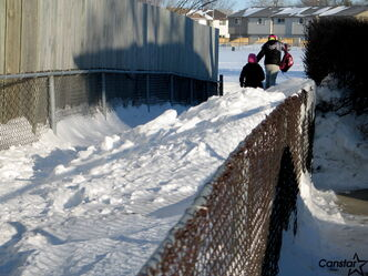 Packed snow creates an elevated path in sidewalk corridor leading from Kersey Bay to a field behind Westgrove School.