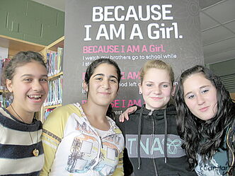 (From left): Charleswood School students Jasmin Castillo, Ranya Harb, Carley Shaver and Maya Amos were all inspired by a recent girls' rights presentation at their school last week.