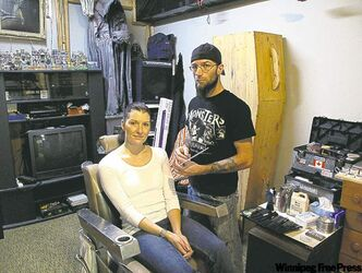 Jessica Lusk (left) had her makeup done by Chris Hadley (right) of Post Mortem Productions.