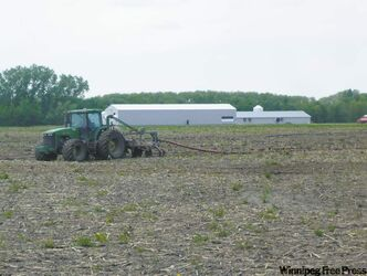 Manure applicator drags slurry pipe across Karen Friesen's land.