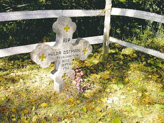 The gravesite of two-year-old Hulda Ostman, who died 100 years ago.