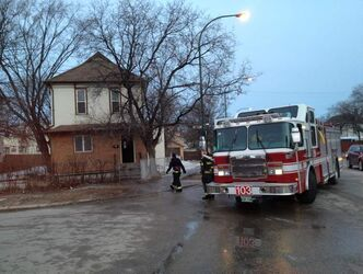Firefighters were at the scene of a fire in an unoccupied house on Spence Street at Cumberland Avenue.