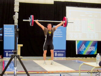 St. Boniface weightlifter Eric Mazur competes at the Canadian Junior Weightlifting Championships in Mississauga, Ont. on Jan. 19.