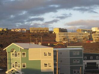 Housing development on Downtown Iqaluit looking up toward the plateau.