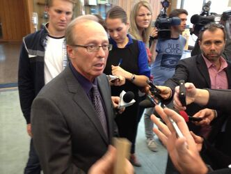 Mayor Sam Katz speaks to reporters, including Bart Kives.
