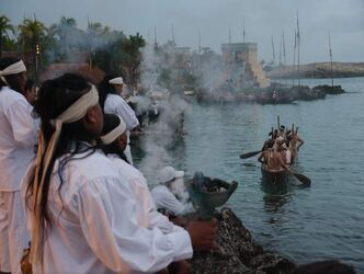 Mayan shamans burn copal incense to bless 268 rowers in 28 canoes who this morning recreated the ancient Mayan Sacred Journey from Xcaret on the Yucatan coast to the island of Cozumel.