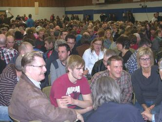 About 1,200 gather at Steinbach Christian High School on Sunday night for an information night on Bill 18.