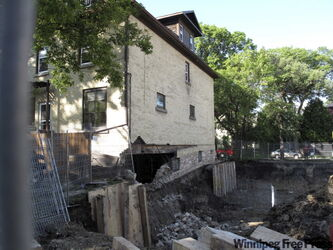 Steve Hunt-Lesage home's foundation collapsed last night into excavation for a new house on the lot next door.