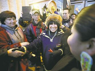 Buffy Sainte-Marie lent her support, speaking briefly in Winnipeg during nationwide events Monday.
