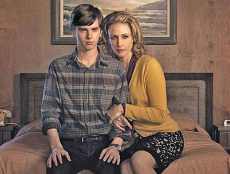 "Freddie Highmore (left) plays the infamous Norman Bates as a teenager and Vera Farmiga plays his mother in the 10-part series, ""Bates Motel,"" which serves as a prequel to the classic film, ""Psycho."""
