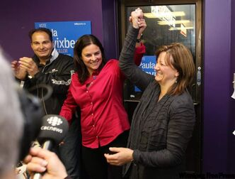 Paula Havixbeck (right), celebrates her close win with Tuxedo MLA Heather Stephanson at her office on Roblin Boulevard.