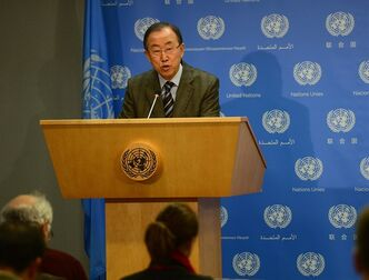 In this Jan. 19, 2014 photo provided by the United Nations, U.N. Secretary-General Ban Ki-moon briefs correspondents at the U.N. headquarters in New York on the decision by the National Coalition of Syrian Revolution and Armed Forces to participate in the upcoming Geneva Conference on Syria. He also said that he had issued an invitation to Iran to participate. (AP Photo/United Nations, Emmanuel Dunand)