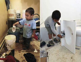 At left, Lucas Rae plays with the treated water in his home on the St.Theresa Point First Nation last year, when  the family was getting by with just a few buckets of fresh water a day.  At right, Lucas turns the taps in his new bathroom under construction.