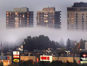 A patch of fog rolls through part of St. James this morning.