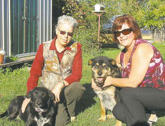 Audrey Sercombe (left) and Sherry Martin cuddle with two of the Swan Valley Animal Protection League's rescued dogs.