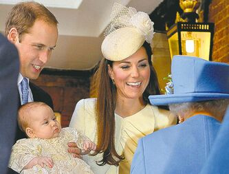 The Duke and Duchess of Cambridge, with their son, Prince George, chat with  the Queen at Chapel Royal in St. James's Palace ahead of the christening.