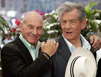 FILE - This May 22, 2006 file photo shows actors Patrick Stewart, left, and Ian McKellen during a photo call for the film