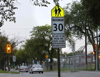 The new 30 km/h school zone speed limit starts on Labour Day. The fine for driving 50 km/h is $310.