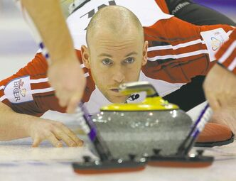 Ryan Fry delivers a stone during this year's Brier, where he shot 84 per cent.