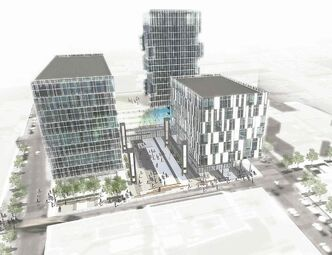 The SoPo Square towers proposed for Graham Avenue. (Artist's rendering)