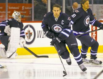 Andrew Ladd in pre-game warm up Tuesday.