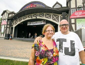 Karen and Floyd Wiebe, parents of the late TJ Wiebe, at the Lyric Saturday.
