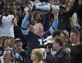 Toronto Mayor Rob Ford attends the CFL Eastern final in Toronto on Sunday, Nov. 17, 2013. THE CANADIAN PRESS/Nathan Denette