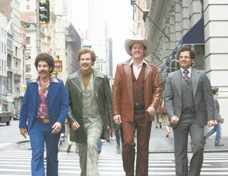 This image released by Paramount Pictures shows, from left, Paul Rudd is Brian Fantana, Will Ferrell is Ron Burgundy, David Koechner is Champ Kind and Steve Carell is Brick Tamland in a scene from