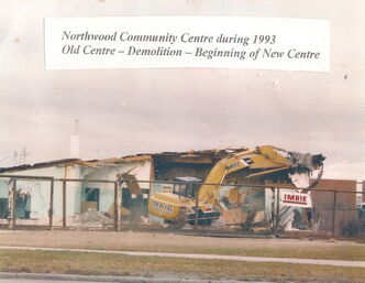 The old Northwood Community Centre clubhouse is torn down in this 1993 photo supplied to The Times. A new clubhouse, the third for Northwood, was built in 1994 and still stands today.