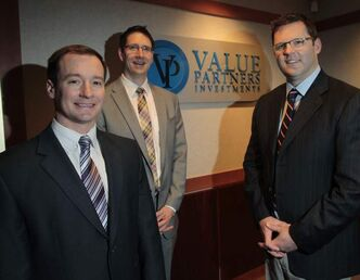 Value Partners Investments' leadership includes (from left) COO Paul Lawton, president Gregg Filmon and Steve Norton, the director of research.