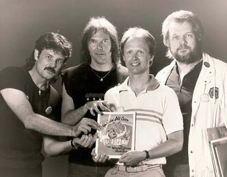 Burton Cummings (from left), Neil Young, John Einarson and Randy Bachman in 1987.