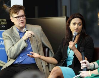 Manitoba Liberal leadership candidates Dougald Lamont and Rana Bokhari express their views Thursday at a Winnipeg Free Press News Café forum.