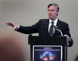 Gary Doer, Canadian ambassador to the U.S., speaks at a North American SuperCorridor Coalition conference at the Hilton Winnipeg Airport Suites Tuesday morning.